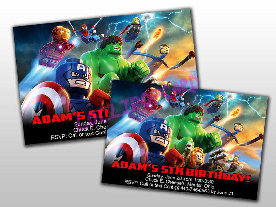 Lego Avengers Birthday Invitation And From LOLLIPOPCARD On Etsy
