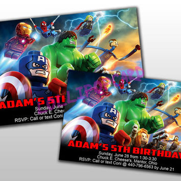 Lego Avengers Birthday Invitation and Thank You Card