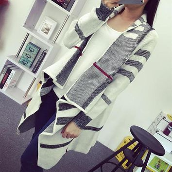 Fashion Brand Spring Knitwear Women's Clothing Long Knitting Sweaters Casual White Long Sleeve Plaid Knit Cardigan | Best Deal Online