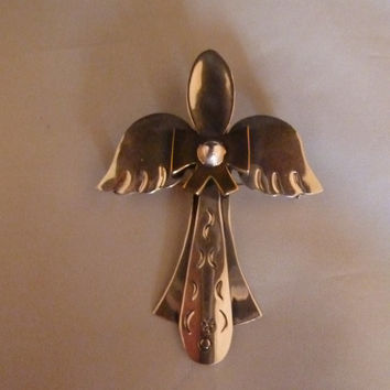 Vintage Sterling Silver Brass Mexican Spoon Angel Brooch Pendant Pin Mexico 925 Jewelry
