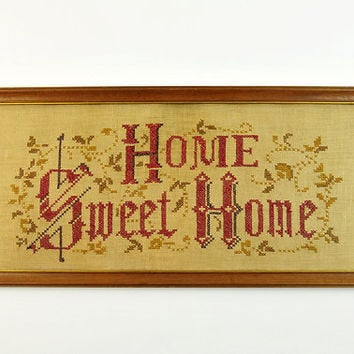 Antique Cross Stitch, Home Sweet Home, Primitive, Wall Hanging
