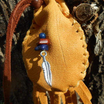 Medicine Bag, Small Leather Pouch, Handmade, Native American, Tribal, Crystal Pouch, Hippie, Powwow, Rendezvous, Festival, Mountan Man
