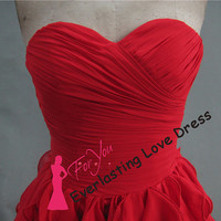 Sweetheart Hand Ruched Ruffled Chiffon With A Train Prom Dresses Red Simple Sexy Evening Gown Party Dresses Long vestido de Formatura