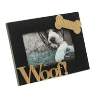 "Isaac Jacobs 4-Inch x 6-Inch Dog ""Woof"" Hardwood Frame in Black"