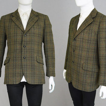 Vintage 60s Tweed Blazer Mod Blazer Mod Jacket Plaid Blazer Checked Jacket Hipster Jacket Hunting Jacket Sport Coat Thornproof Gents Large