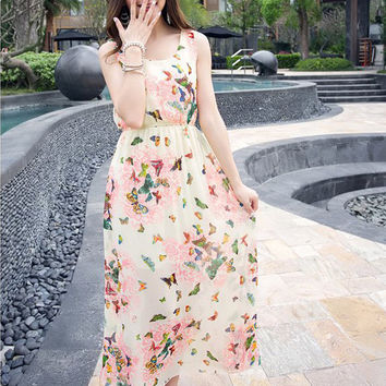 Red Bohemian Butterfly Print Sleeveless Blouson Chiffon Maxi Dress