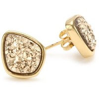 "Marcia Moran ""Glamour"" Gold-Tone Druzy Organic Drop Stud Earrings - designer shoes, handbags, jewelry, watches, and fashion accessories 