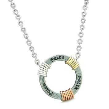 Inspirational Faith Ring Rose-Yellow-Gold-Silver-Tone Tri Color Amulet Pendant 18 Inch Necklace