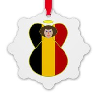 Belgian Flag Angel With Brown Hair Ornament> Brown-Haired Belgian Angel Flag> Angel Flags from Auntie Shoe