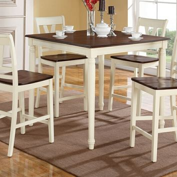5 pc Erin IV collection cream finish wood legs and cherry finish wood tops counter height dining table set with wood top seats