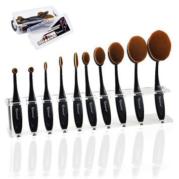 Kingmas 5PCS /10PCS Per Set Tooth Brush Shape Oval Makeup Brush Set Soft Oval Brush for Foundation Blush Concealer Cosmetic Tool