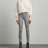 ALLSAINTS US: Womens Grace Slashed Skinny Jeans (grey)