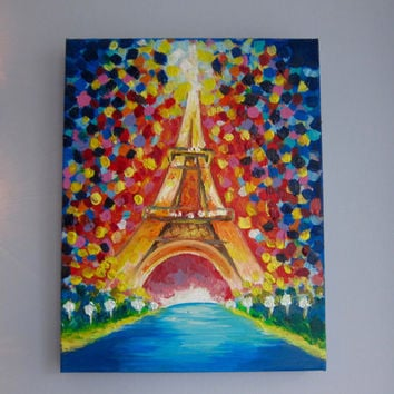 PARIS EIFFEL TOWER - Original acrylic painting on canvas, Eiffel Tower painting, Eiffel tower art, France art, travel art, Paris wall art