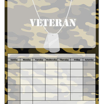 Veteran Dog Tags Blank Calendar Dry Erase Board All Over Print
