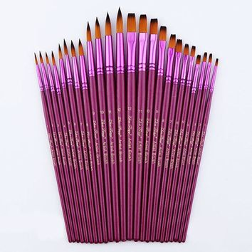 24pcs Size Artist Nylon Hair Paint Brush Set(Tip+Flat) For Watercolor Acrylic Oil Painting Water Brushes Drawing Art Supplie
