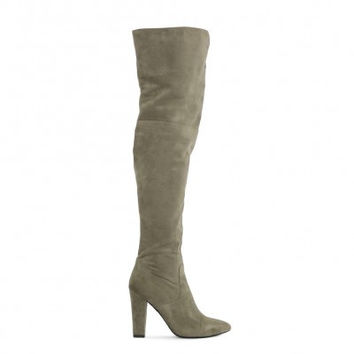 BLISS V FRONT DETAIL OVER THE KNEE BOOTS IN KHAKI FAUX SUEDE