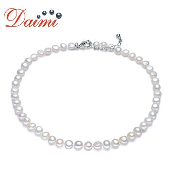 DAIMI Natural Pearl Necklace 8-9mm Baroque Pearl Jewelry Freshwater Pearl Choker Necklace Adjustable Length Wedding Jewelry