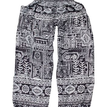 Black Aztec Harem Pants