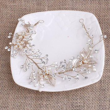 CREYCI7 Exquisite Gold Flower Leaf Crystal Pearls Wedding Hair Vine Headband Bridal Headpiece Hair accessories