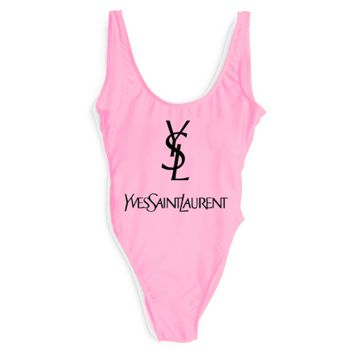 YSL SWIMMER SWIM TAN TOP VEST SHIRT V NECK WOMEN LETTERS BOTTOMING CLOTHES
