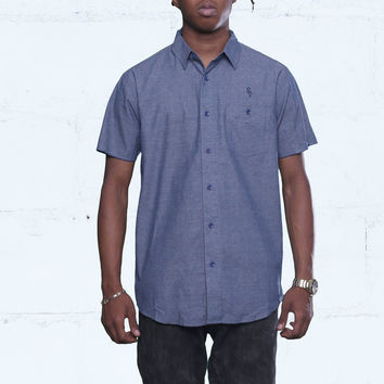 Pelican Bay Chambray Button Up Shirt Navy