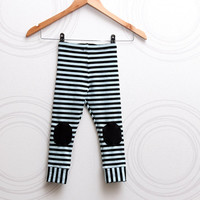 Stripe toddler leggings with knee patches light blue and black pants //  size US 1-6 (EU 80-116)