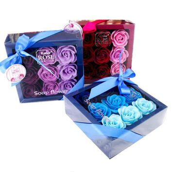9Pcs/Box Simulation Rose Soap Flower Gift