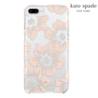 iPhone 7 PLUS Kate Spade Hollyhock Flower Case, Peach/Clear