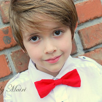 Handmade Red Boy Bowtie Boy Bow Tie Toddler Bow Tie Ring Bearer Photo Prop Bow Tie