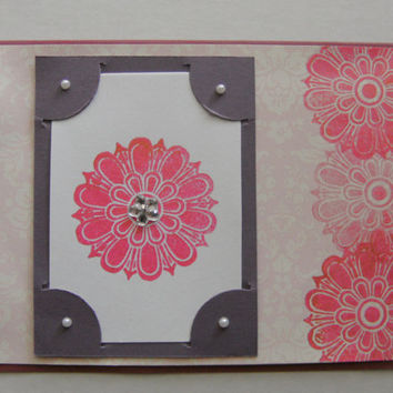 Pink Medallion Flower Handmade Card by creativedesigns on Etsy