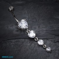 Brilliant Heart Cascade Belly Ring