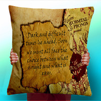 Harry POtter - Albus Dumbledore - dark and difficult times lay ahead - Cushion / Pillow Cover / Panel / Fabric