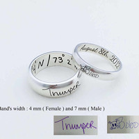 Your Actual Handwriting Ring - Actual Signature Ring - Couple Jewelry - Engrave Ring - Wedding Bands