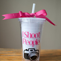 "Photographer Themed ""I Shoot People"" Double Walled Tumbler"