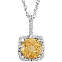 "Sterling Silver 7mm Citrine & .015 CTW Diamond 18"" Halo-Style Necklace"