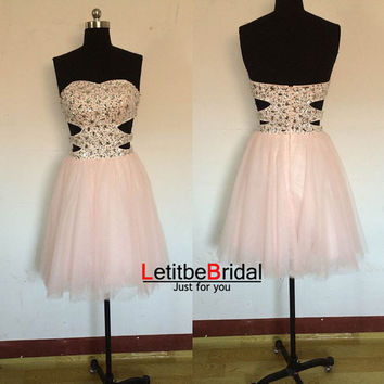 2014 New Ball Gown A line Sweetheart Heavy Beaded Baby Pink Tulle Short Prom Dress Gown/Homecoming Dress/Cocktail Party Dress/Holiday Dress