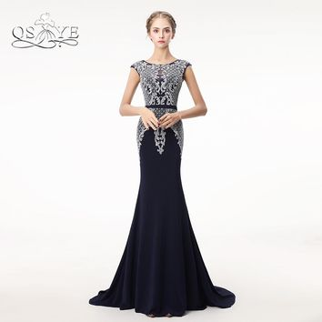 QSYYE 2018 Dark Navy Long Mermaid Prom Dresses Robe de Soiree Full Beaded Top Sweep Train Satin Formal Evening Dress Party Gown