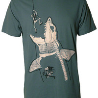 Men's Organic Shark and Diver Shirt Glows in by TheMightySquirm