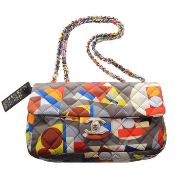 Chanel Printed Nylon Quilted Shoulder/Crossbody Flap Bag