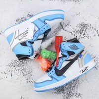 Air Jordan 1 Retro High OG University Blue OFF-White x OW AJ1 Sneakers - Best Deal Online