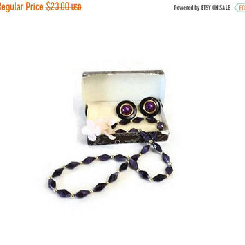ON SALE - Vintage Hecht Co Purple Beaded Necklace with Clip Earrings, Retro Collectible Costume Jewelry