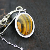 Bumble Bee jasper pendant necklace. One of a kind, modern, yellow, statement necklace with sterling silver, tourmaline and bumble bee jasper