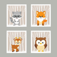 Forest Animals on Light Taupe, Woodland Animals, CUSTOMIZE COLORS, 8x10 Prints, set of 4, Nursery Decor, Animal Print, Baby Boy Wall Prints