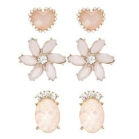 Faceted Stone Stud Earrings - 3 Pack by Charlotte Russe - Lt Pink