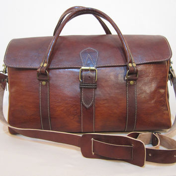 Moroccan men Leather Bag, Luxury Leather Duffel Bag – CLASSIQUE – Vintage Red Brown !!!