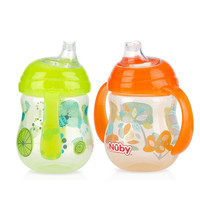 Nuby No Spill Clik-it Designer Series 2 Pack 9 Ounce Grip N' Sip Cups - Neutral