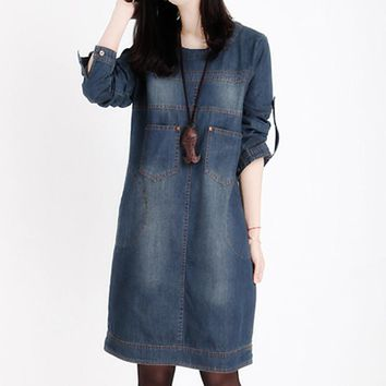 Plus Size Women Clothing 2017 New Spring Jeans Shirt Dress Woman Summer Vintage Long Sleeve Denim Dresses For Women Vestidos