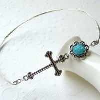 Cross Bangle Caribbean Blue Bracelet Christian Icon Gothic Silver Cross Bracelet Stacking Bangle Small Petite Stained Glass Jewelry