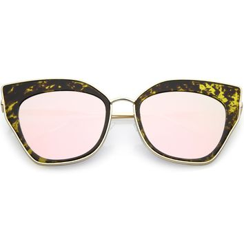 Oversize Pointed Cat Eye Sunglasses Slim Metal Nose Bridge Square Colored Mirror Lens 58mm