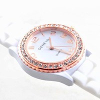 New Silicone Gel Ceramic Style Jelly Band Crystal Bezel Womens Watch White/Rose Gold